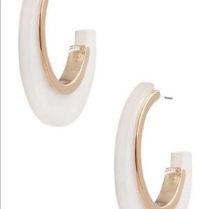 Metal & acrylic open hoop earrings